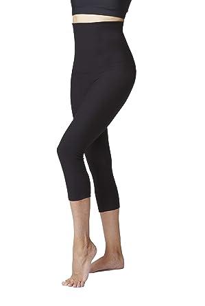 Damen Bauchkontrolle mit figurstraffender hohen Taille, Hose, kurze Leggings   Amazon.de  Bekleidung b67dc2bcff