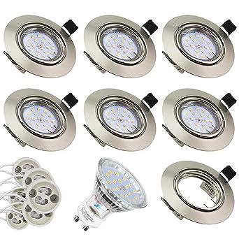 Foco Empotrable | Led Gu10 Luz de Techo 5W equivalente a incandescente 60W | Blanco Cálido 3000K 600Lm | Ojos de Buey ...