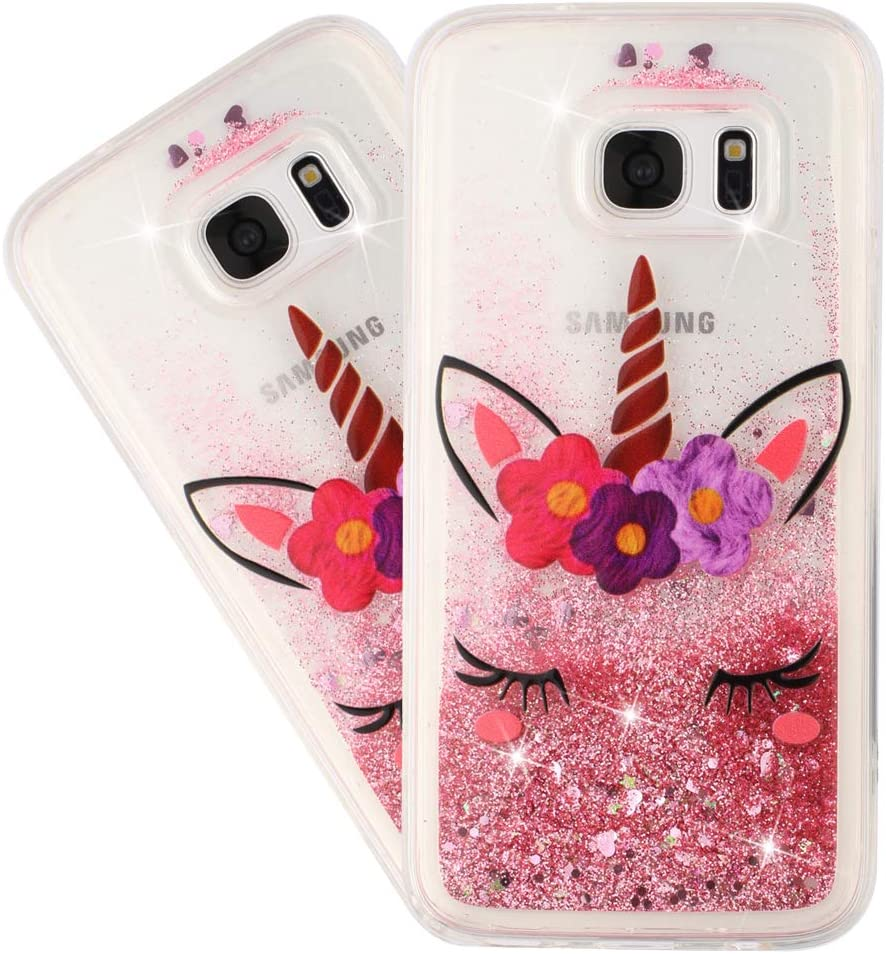 HMTECHUS Case for S6 Edge Glitter Liquid Sparkle Floating Shiny Quicksand Clear Soft TPU Silicone Shockproof Protective Bumper Thin Cover for Samsung Galaxy S6 Edge Bling Eyelash Unicorn XY