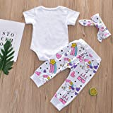 Baby Girl Boy Clothes Set Cartoon Rainbow Printed