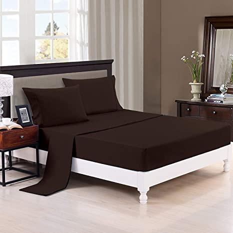 Trance Home Linen 100% Premium Cotton 400TC Plain Fitted Bed Sheet with 2 Pillow Covers - Chocolate Brown (Queen)