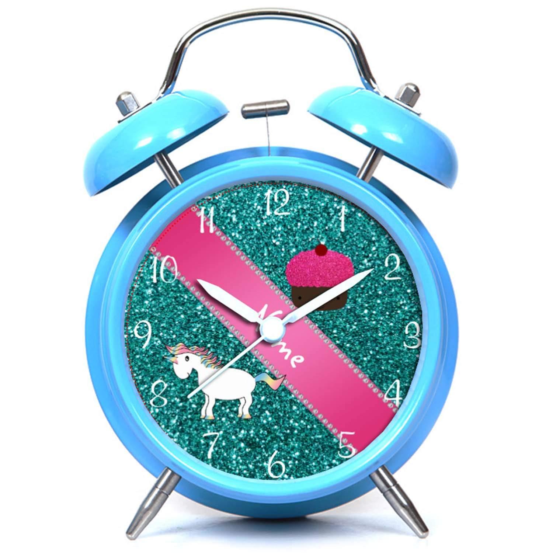 GIRLSIGHT R/éveil Twin Bell Mute R/éveil Horloge de Chevet et de Bureau avec veilleuse Nom personnalis/é de la Licorne Cupcake Turquoise Paillettes lhorloge Noir