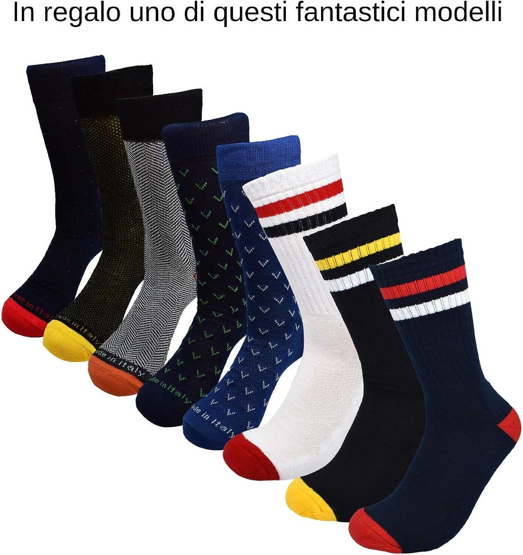Calzini Made in Italy 100/% Cotone Fresco Resistenti Eleganti Rimagliati Sotto il Ginocchio RV97 Calze da Uomo Lunghe Filo di Scozia 7 Paia: 6 + 1 Fantasia Omaggio