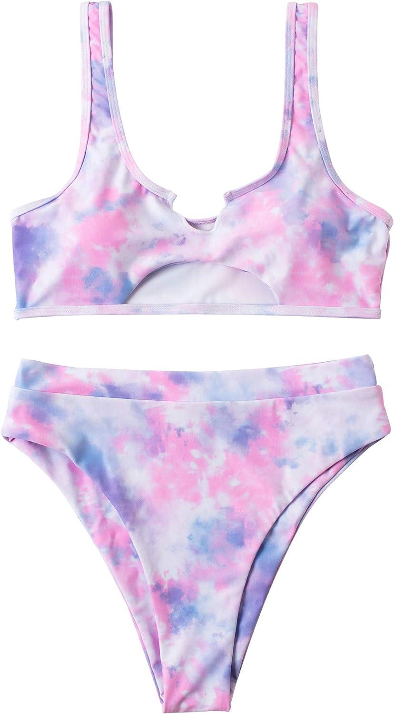 RXRXCOCO Women Cutout Bikini Sets Push Up High Waisted Swimsuits 2 Piece