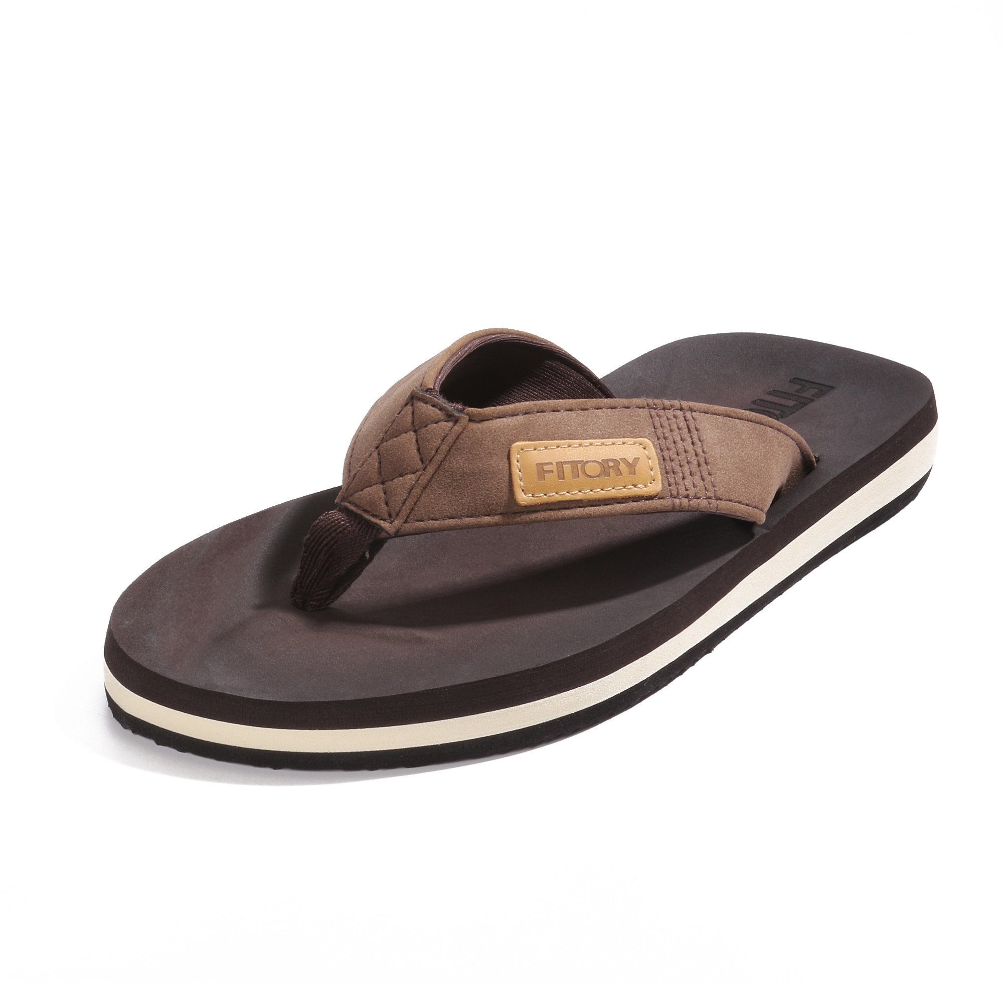 FITORY Men's Flip-Flop Thong Sandals with Arch Support Light Weight Beach Slippers