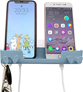 Nalodu Wall Mount Phone Holder with Adhesive and Hooks for Hanging Keys Cell Phone Tablet Charging Bedroom Home Bathroom Kitchen Living Room Office, Light Blue
