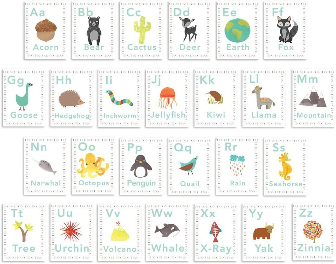 Children Inspire Design English Alphabet 08x10 Inch Print Wall Cards, Alphabet Wall, Our World, Nature Themed, Kid's Wall Art, Nursery Decor, Kid's Room Decor, Gender Neutral Nursery Decor