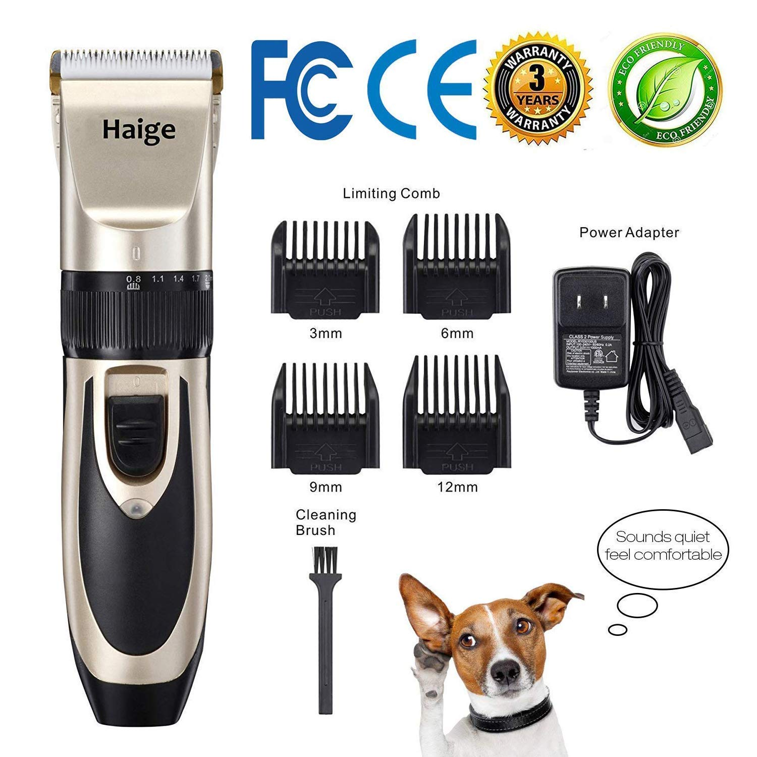 Haige Pet Your Pet Nanny Dog Shaver Clippers Low Noise Rechargeable Cordless Electric Quiet Hair Clippers Set for Dogs Cats Pets