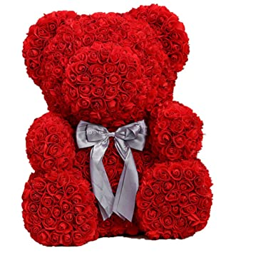 Flcp Artificial Flowers Ours De Rose Rouge Oursons Eternels De Fleur