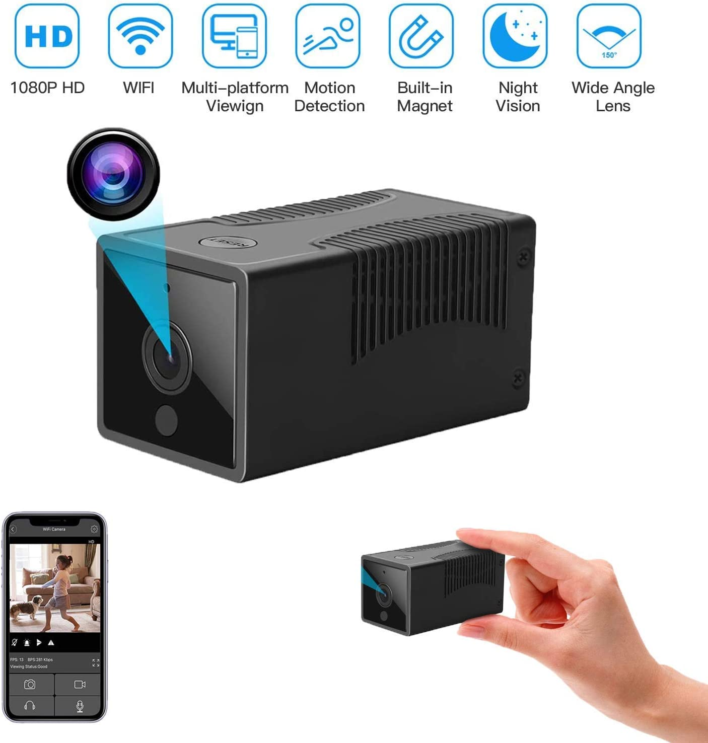 Spy Mini Camera Wireless Hidden WiFi Camera with Remote View HD 1080P with Night Vision,Motion Detection Alerts,with Cell Phone App-Nanny Camera-Premium Security Camera-iOS Android,with Card Reader