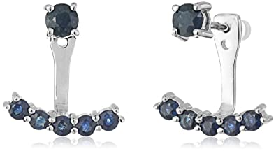 80d5a080d Image Unavailable. Image not available for. Color: Sterling Silver Genuine  Blue Sapphire Back Stud Earring Cuff