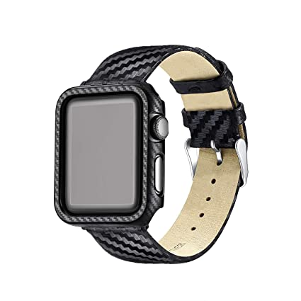 Carbon Fiber Genuine Leather Apple Watch Band 42MM Suit,High-Gloss,Twill Weave Finish,Ultra Thin Apple Watch Protective Case(PC) Compatible Apple ...