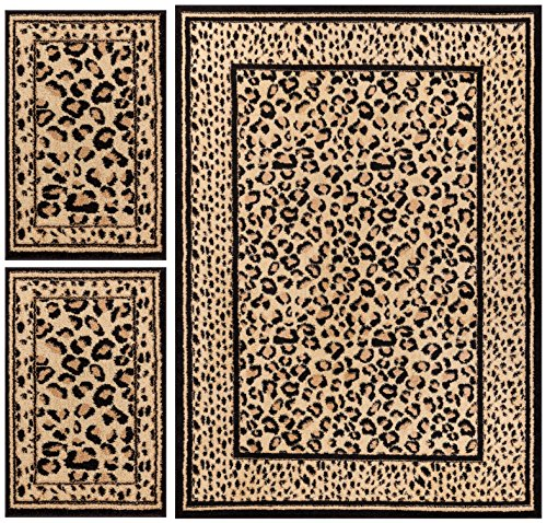 Leopard Print Rugs (Royal Court Leopard Animal Print Modern Contemporary Geometric Beige Brown Ivory 3-piece Living Dining Room Entryway Bathroom Kitchen Ultra Value Area Rug Set 5x7 and Bonus 2x3 Mats)