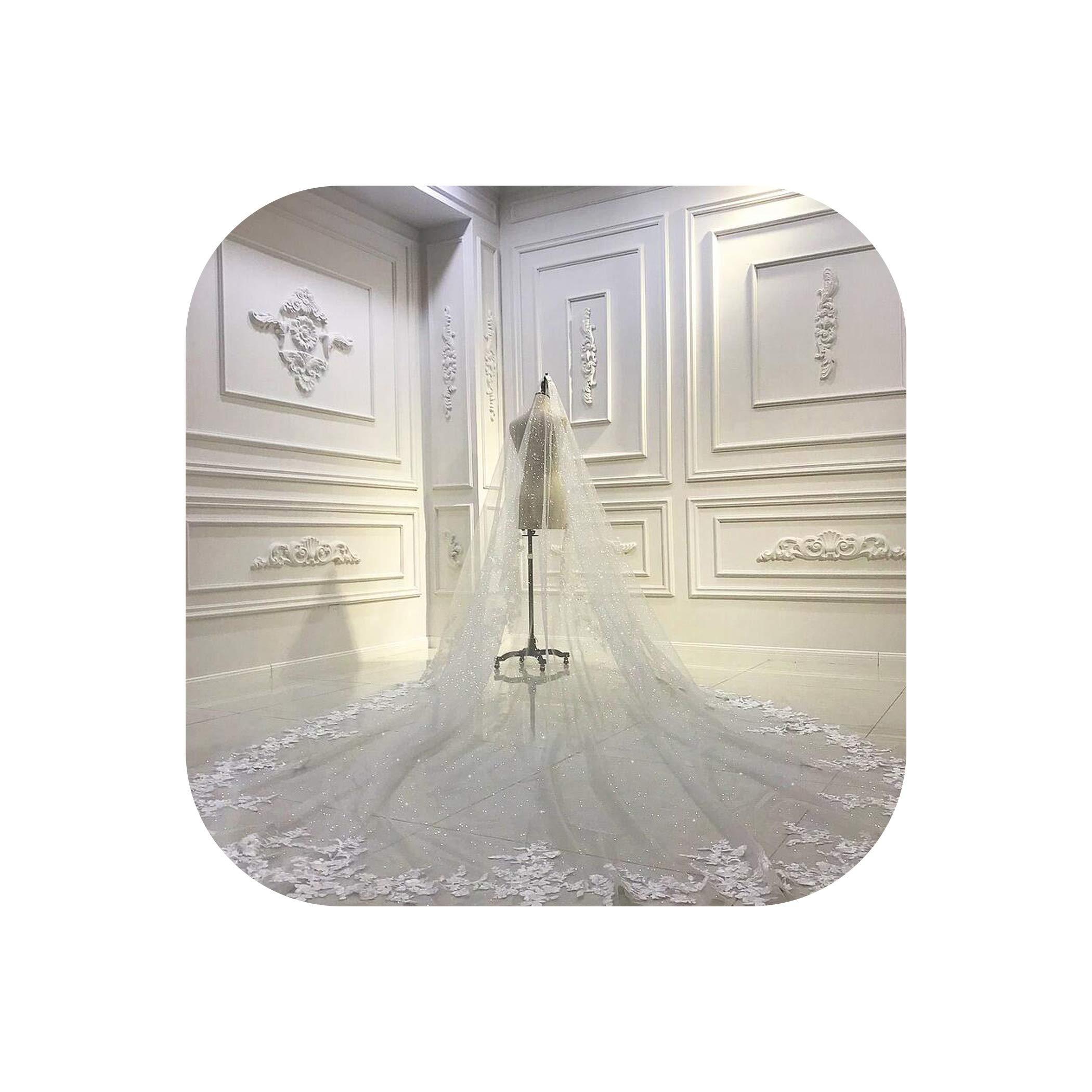 Luxury long train wedding veil long bridal veil,Ivory,300cm