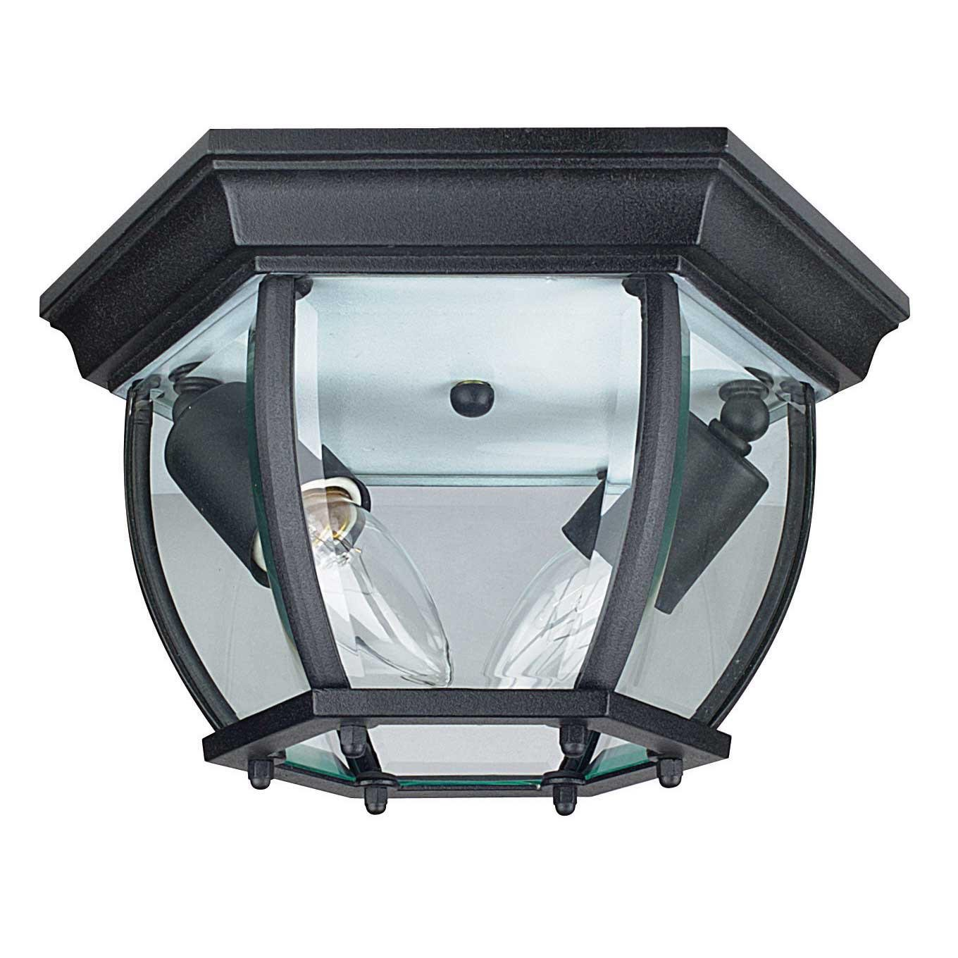 Sunset Lighting F7898-31 Outdoor Flush Mount with Clear Beveled Glass, Black Finish