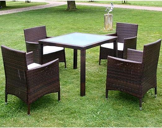 Lingjiushopping Juego Mesa y sillas de jardín 9 piezas Polirratán ligero marrón material color bastidor de acero revestido de polvo + patas de aluminio Juego de muebles de exterior: Amazon.es: Hogar