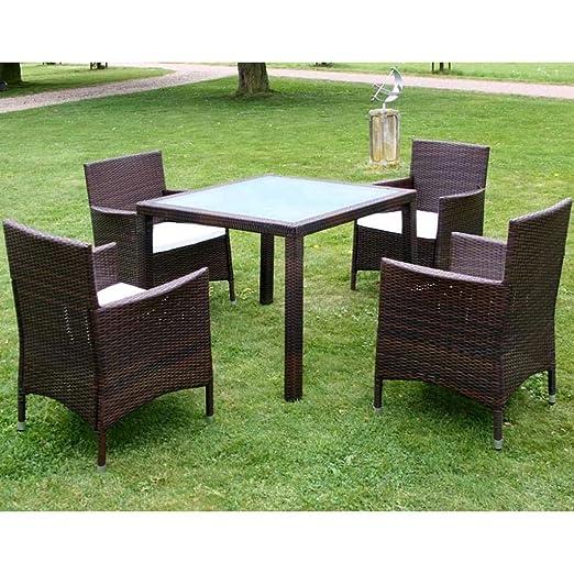 Luckyfu este Juego de Mesa y sillas de jardín 9 Piezas Polirratán ...