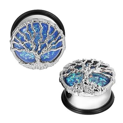 D&M Jewelry Par de Dilatador con Opalo, Expansor de Arbol de Acero Inoxidable Piercing 00g: Amazon.es: Joyería