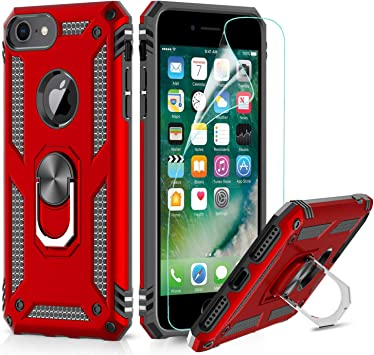 LeYi Funda iPhone 6 / 6S / 7/8 Armor Carcasa con 360 Anillo iman Soporte Hard PC