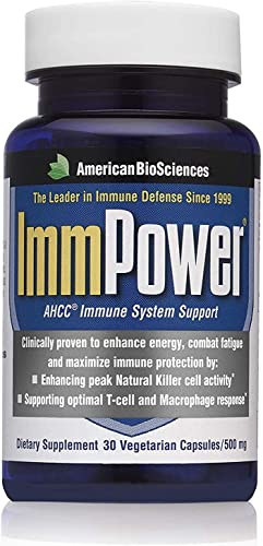 American Bio-Sciences ImmPower AHCC – 500 mg – Strong Immune System – Gluten Free – 30 Vegetarian Capsules Pack of 2