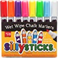 CHALK MARKERS, Best 8 Pack Set of Bold Vibrant Colors by SillySticks, Erasable from Glass, Plastic, Mirrors, Metal, Whiteboards, Chalkboards, Perfect for Teachers, Kids and Moms, Nontoxic and Odorless, Enhance Your Arts and Crafts Projects Now!