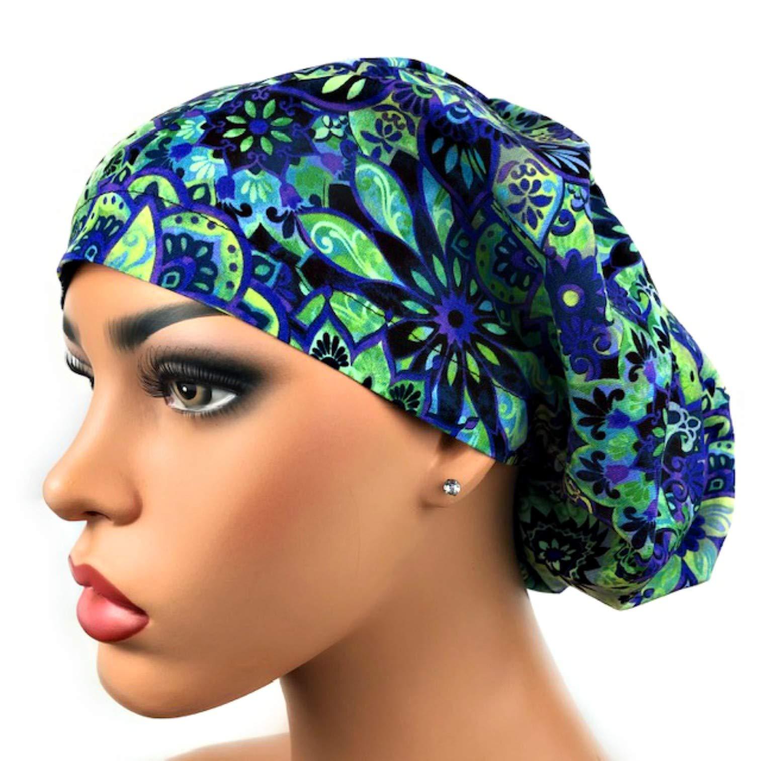 Womens Surgical Scrub Hat OR Nurse Cap Euro Style Purple, Blue, Green Floral Print Bouffant Cap by DK Scrub Hats