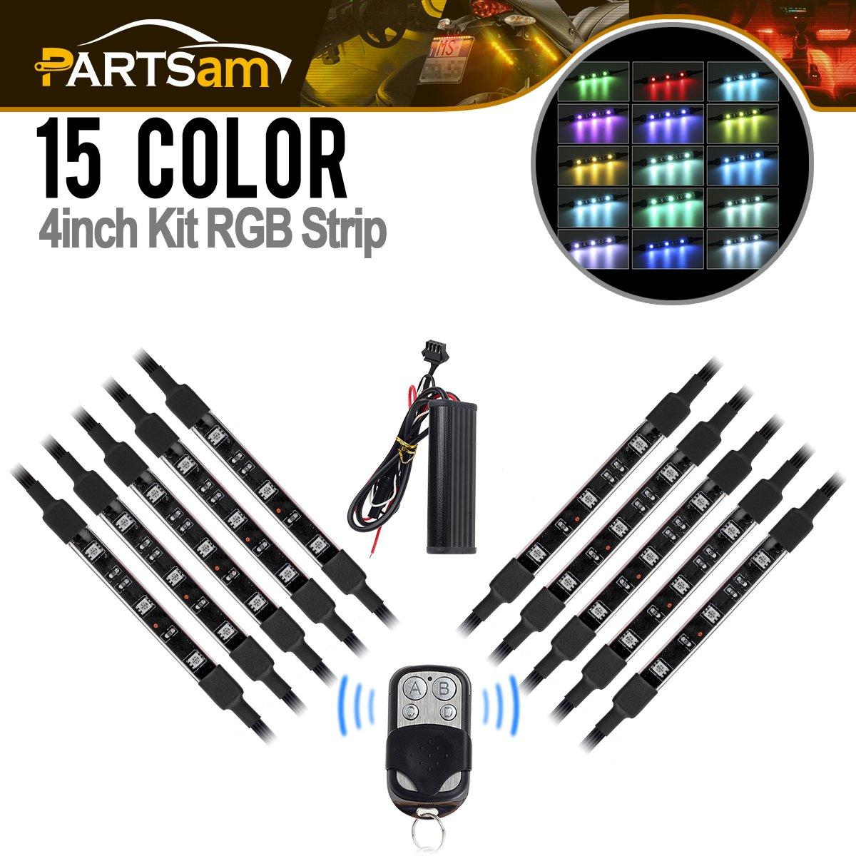 Partsam 10x 3LED RGB LED Strip Light Bar for Multicolor Accent Glow LED Neon Light Atmosphere Lights with Wireless Remote Controller for Universal Motorcycle Bike ATVs Scooters