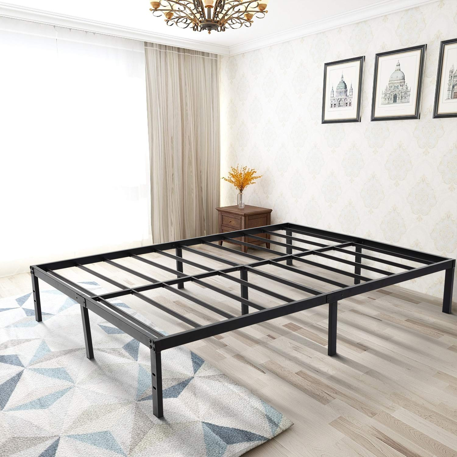zizin Queen Bed Frame Platform/14 Inch/Heavy Duty/Easy Assembly/Anti-Slip/Mattress Foundation/Steel Slats (Queen)