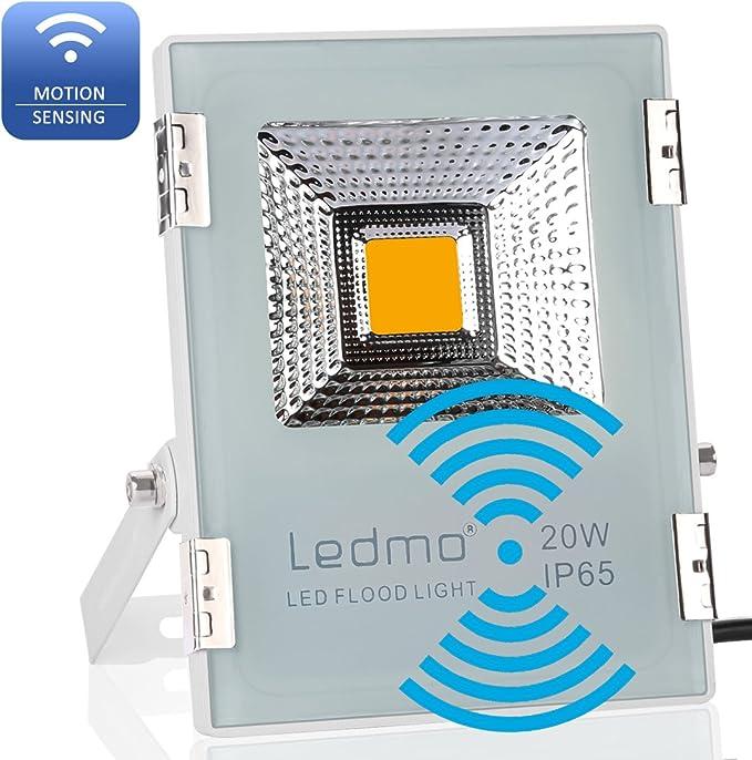 LEDMO Foco led sensor movimiento 20W,Blanco de fundición a presión ...