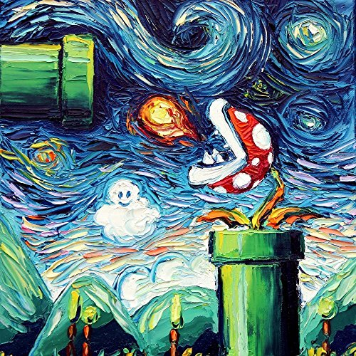 Starry Night Piranha Plant Inspired Art CANVAS print van Gogh Never Leveled Up by Aja 8x8, 10x10, 12x12, 16x16, 20x20, 24x24, 30x30 inches