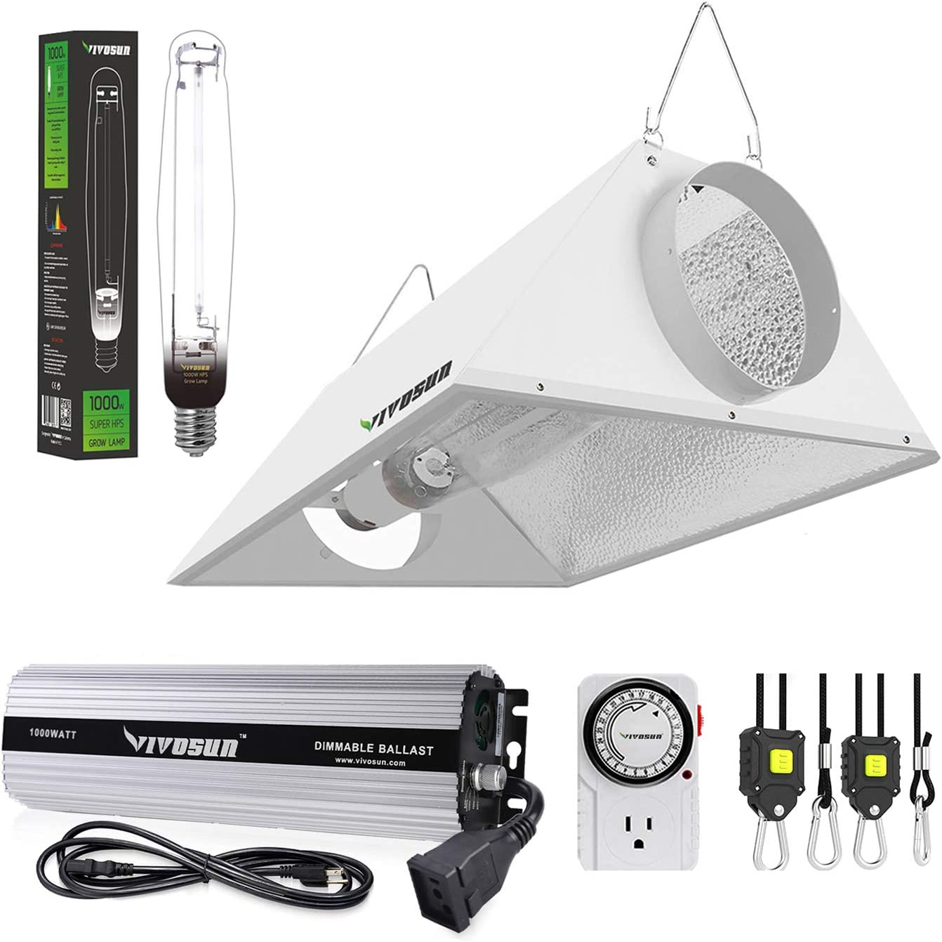 VIVOSUN Hydroponic 1000 Watt HPS Grow Light Air Cooled Reflector Kit - Easy to Set up, High Stability & Compatibility (Enhanced Version)