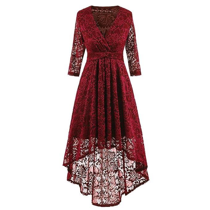 K-youth® Elegante Vestido De Encaje Mujer Vestidos Fiesta para Bodas Vestido  de Noche Retro Fiesta Cola de Milano Vestidos  Amazon.es  Ropa y accesorios 8ae5163619d8