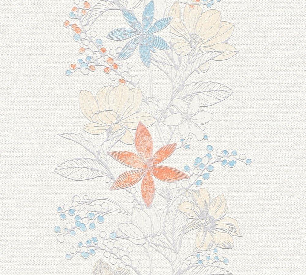 Esprit Vliestapete mit Glitter Romantic Botanics Tapete mit Blumen floral 10,05 m x 0,53 m blau metallic wei/ß Made in Germany 357543 35754-3