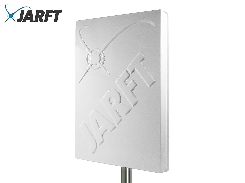 JARFT J4GMB-14-DOMPA | Leistungsstarke Multiband 800/1800/2600 MHz LTE / 4G Antenne, 14dBi Leistungsgewinn, Wetterfest, inklusive 2.5m TWIN-Kabel - Richtantenne passend zu Speedport LTE / LTE II / Hybrid, Speedbox LTE / LTE II / LTE III, Easybox 904 LTE /