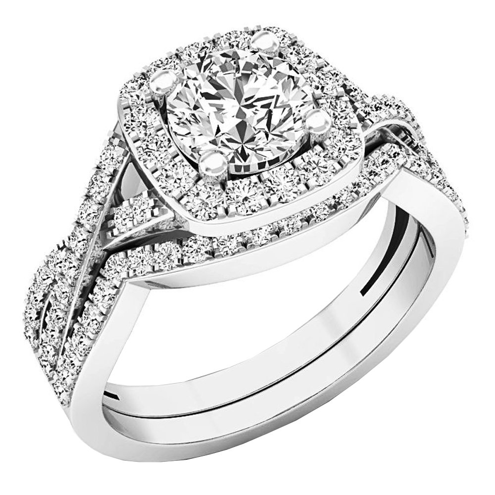 2.55 Carat (Ctw) 10K White Gold Round Cubic Zirconia Ladies Engagement Ring Set 2 1/2 CT (Size 8)