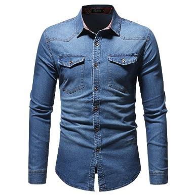 Hffan Herren-Hemd Retro Mode Washed Denim Langarm-Hemd Für Anzug, Business, 87700d99db