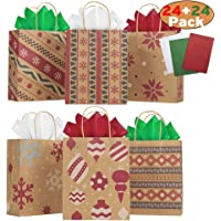 24 Pack Christmas Kraft Gift Bags with Assorted Christmas Prints for Kraft Holiday Paper Gift Bags, Christmas Goody Bags, Xmas Gift Bags, Classrooms and Party Favors