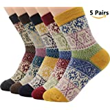 American Trends Vintage Winter Women Socks Snowflake Knitted Warm Wool Socks