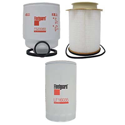 Buyer$ Lair Kit - Original Dodge Ram 6.7L Diesel Fleetguard Cummins Oil Filter LF16035, Fuel Filter FS53000 & Fuel/Water Separator Filter FS20089 Kit for 2013-2020 Models 2500/3500/4500/5500: Automotive