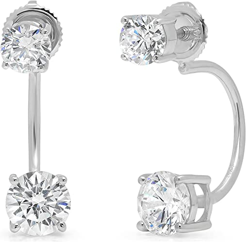 1.5Ct Simulated Diamond Princess Cut 14K White Gold Solitaire Stud Earrings