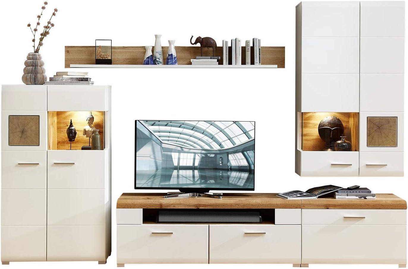 Wohnwand Anbauwand Wohnzimmerschrank 10-TLG.  Dekor  Weiß  Eiche
