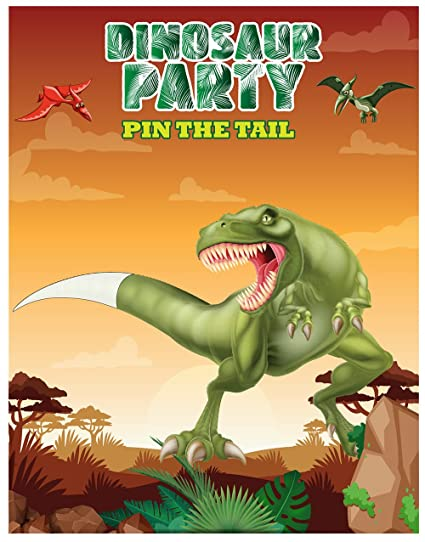 Color Pin The Tail On Dinosaur Party Favor Games Supplies New