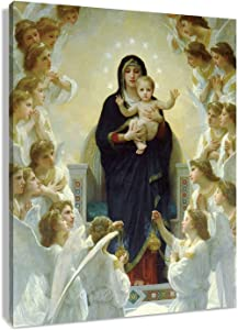 LB Virgin Mary Framed Canvas Wall Art Christ Jesus in Heaven Angel Paradise Painting Canvas Prints Christian Living Room Bedroom Bathroom Home Decor Ready to Hang,12x16 inch