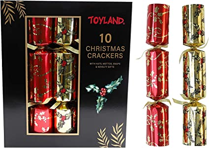 Pack of 10 Small Gold Cracker Gift Boxes Christmas Crackers Chocolates Sweets Gifts Cakes