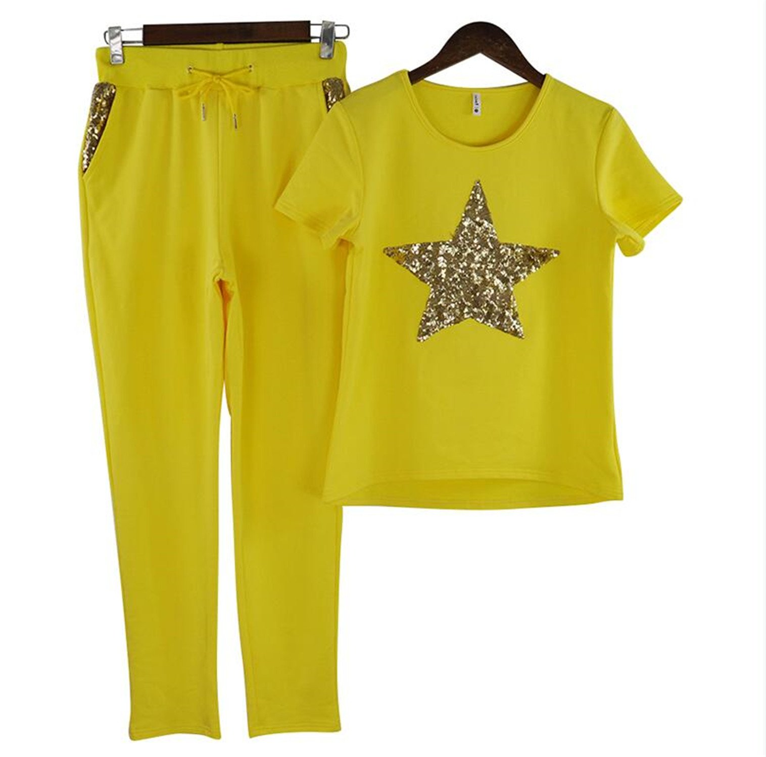 spyman Summer Women Casual Suits Short Sleeve T-Shirt and Pant 2-Piece Set Yellow L