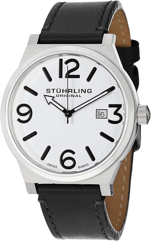 Stuhrling Original Men's 454.33152 Leisure Eagle Osprey Swiss Quartz Date Black Leather Strap Watch