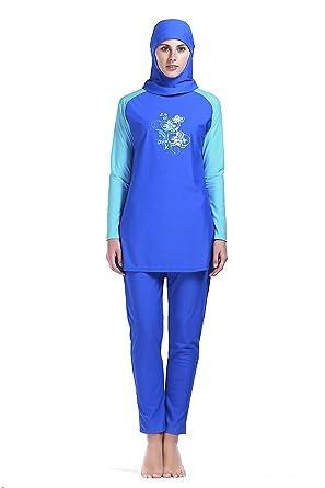 02969cfbee0 MZ Garment Women Muslim Swimwear Full Coverage Islamic Modest Swimsuit 3  Pieces Full Body with Hijab