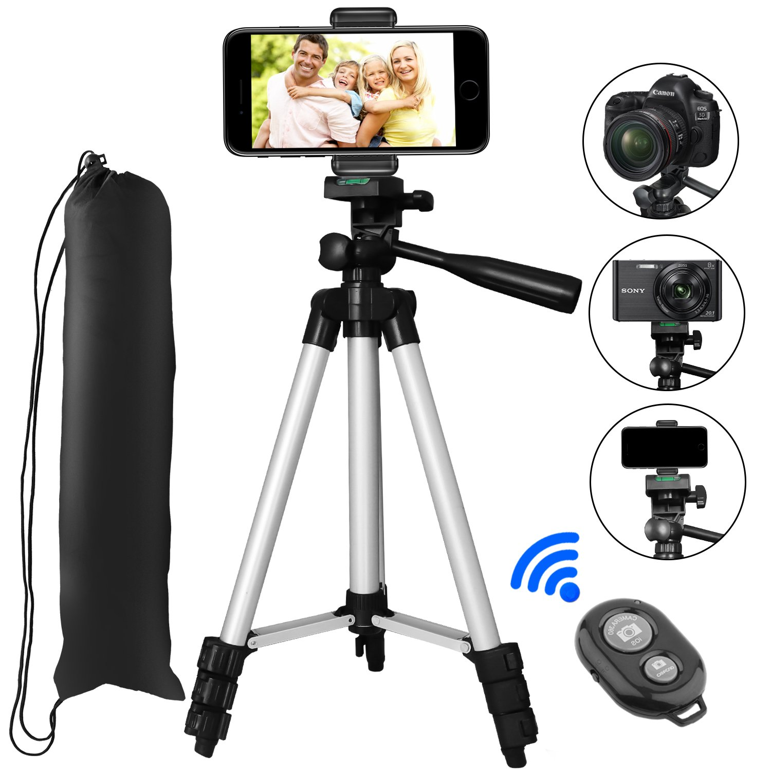 Tripod for iPhone, PEYOU 42'' Aluminum Camera Tripod+Universal Smartphone Holder Mount+Bluetooth Wireless Remote Control Shutter for iPhone X/8/8 Plus/7/7 Plus/6/6 Plus, Galaxy Note 8/S9/S8/S7 Edge/S6