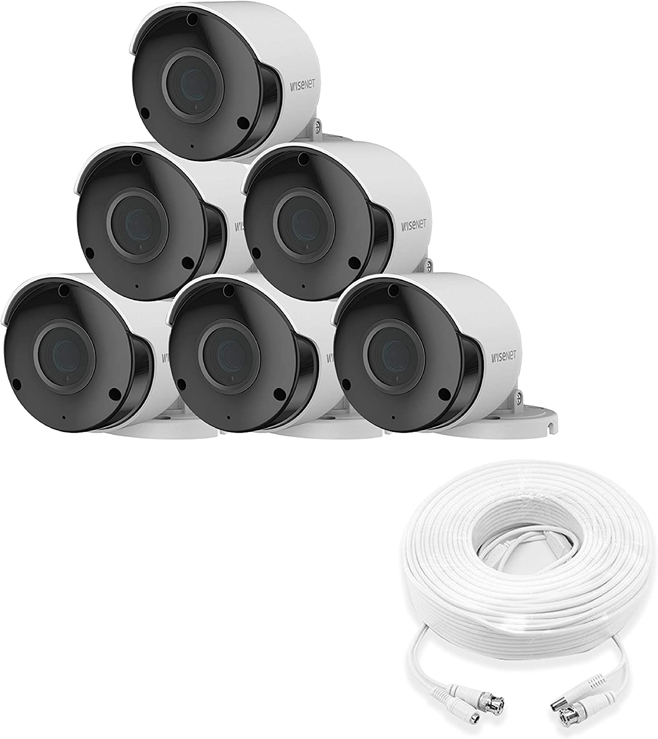 Wisenet SDC-89445BF 5MP CCTV Surveillance Weatherproof Bullet Security Camera 82ft IR Distance Plastic Housing 3.6mm Lens 104° Wide Angle (6 Pack)