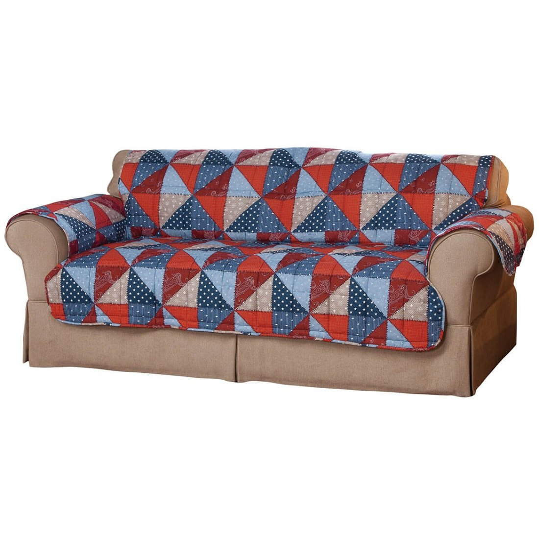 MS Home Patriotic Anti-Stain Red Blue Sofa Slipcover - Liquid-Repellent with long backs and tuck-in flaps - Seat: 36.5'' L x 68'' W, Back: 39'' L x 68'' W